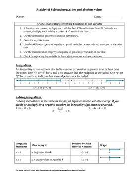 Handout on solving inequalities and absolute values
