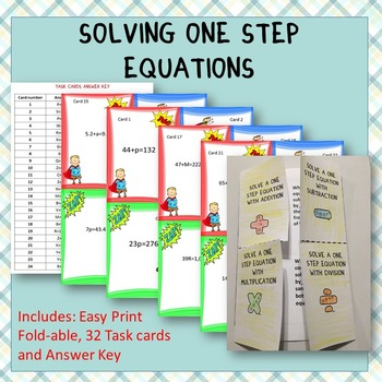Solving One Step Equations: Graphic Organizer-Foldable wit