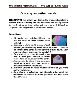 Solving one step puzzle