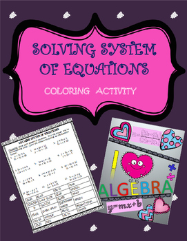Solving system of equations: Coloring Activity