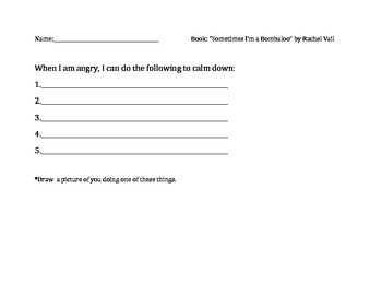 """""""Sometimes I'm a Bombaloo"""" by Rachel Vail Supporting Worksheet"""