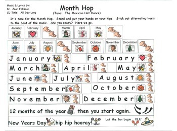 "Song Board - ""Month Hop""/Dr. Jean's CD ""All Day Long""/Mont"
