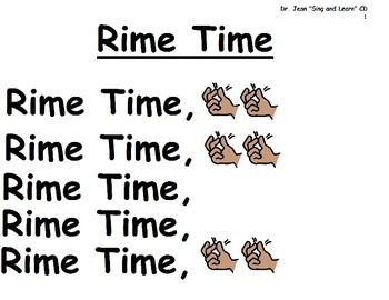 """Song Board - """"Rime Time""""/Dr. Jean's Sing and Learn CD/Rhyming"""