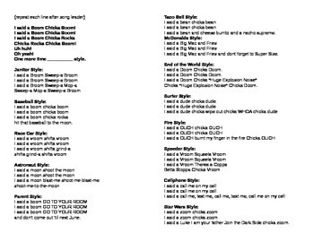 Song Sheet Handout-Boom Chicka Boom alternate verses