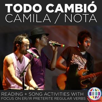 Song activity: Todo cambió by Camila (originally) and Nota