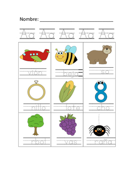 Sonidos iniciales letra A >> beginning sounds letter A >> Spanish