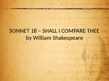 """Sonnet 18, """"Shall I compare thee"""" - By William Shakespeare"""