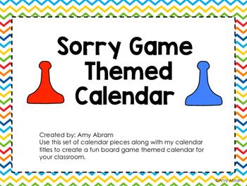 Sorry Game Themed Calendar Pieces