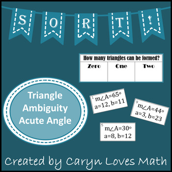 Sort:Ambiguous Case -Acute Angle ~ How Many Triangles Can