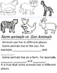 Sort and write - Farm Animals vs. Zoo Animals