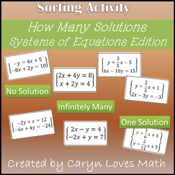 Systems of Linear Equations~How Many Solutions~One~No Solu