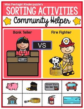Sorting Activities Community Helper Bank Teller and Firefighter