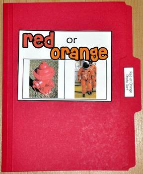 """Sorting Activity: """"Red or Orange Sort File Folder Game"""""""