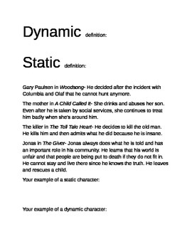 Sorting Activity for Static and Dynamic Characters