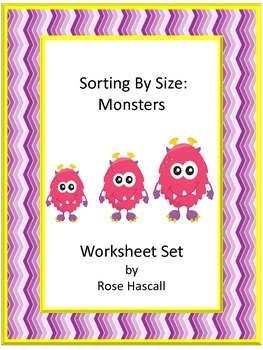 Sorting By Size Monster Cut and Paste Kindergarten Math Wo