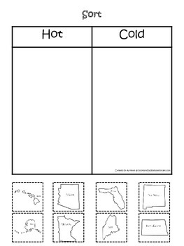 Sorting Hot and Cold States.  Preschool printable educatio