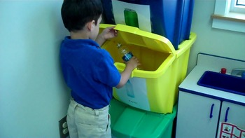 Sorting Recycle Center working in life skills