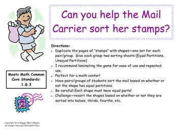 Sorting Stamps - Identifying Equal Parts Game