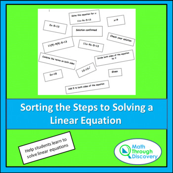 Sorting Steps to Solving Linear Equations