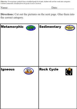 Sorting and Classifying with the Rock Cycle; Cut & Paste;