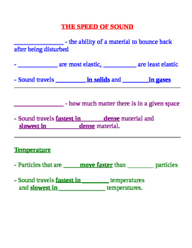 Sound Fill in Notes & Key - Speed, Elasticity, Density, Lo