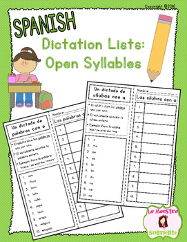 Sounding Out Words: Open Syllable and Word Dictation Lists