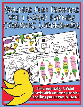 Sounds Fun Phonics Volume 1 Word Family Coloring Worksheets