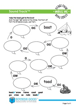 Sounds Good Reading - Stage 4 Activity - Module 1 'oe' (So