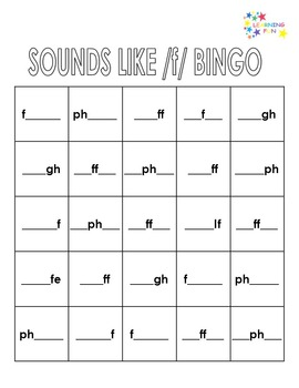 Sounds Like /f/ Bingo - f, fe, ff, gh, lf, ph