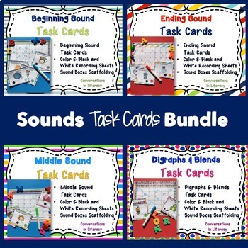 Sounds Task Cards with Sound Boxes Bundle