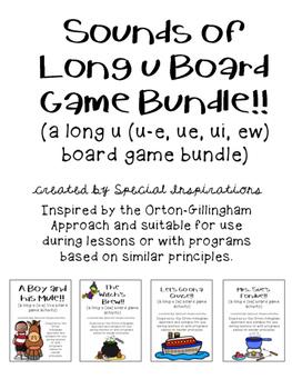 Sounds of Long u Board Game Bundle! (u-e, ue, ui, ew) Orto