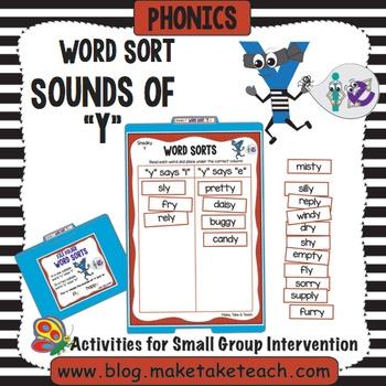 Sounds of Y Word Sort - File Folder Word Sorts