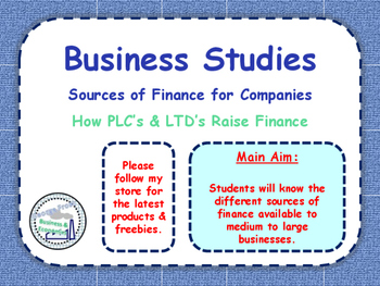 Sources of Finance for Large Businesses / Companies - Grow
