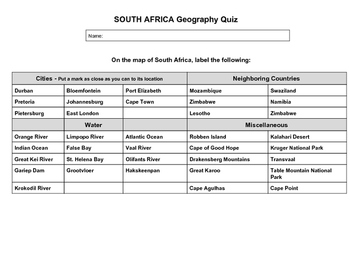 South Africa Geography Quiz
