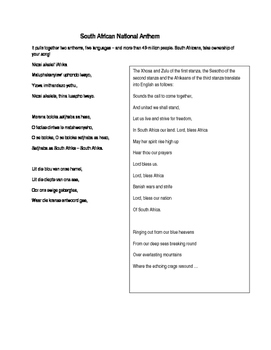 South African National Anthem in original languages and English