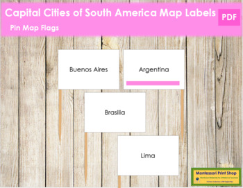 South America Capital Cities - Pin Map Flags (color-coded)