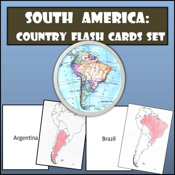 South America: Country Flash Cards Set - Shaded or Non-Sha