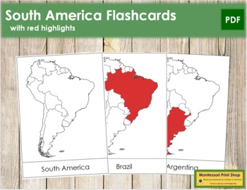 South America Flash Cards (Red)