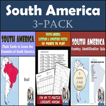 South America: Latitude & Longitude, Flash Cards, & Countr