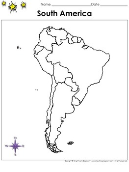 South America Map - Countries - Blank - Full Page - Contin
