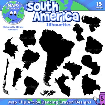 South America - Silhouettes Clip Art
