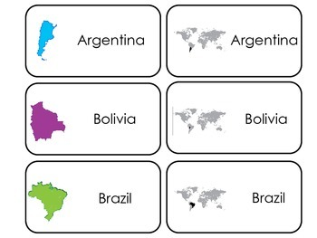 South America printable Picture Word Flash Cards. Preschoo