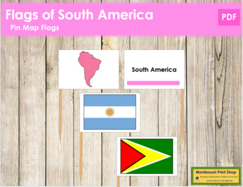 South American Flags: Pin Map Flags (color-coded)