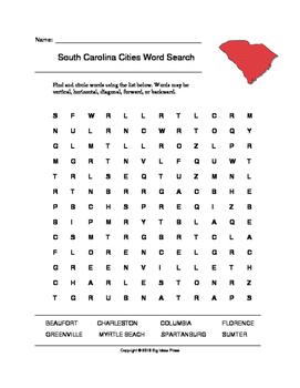 South Carolina Cities Word Search (Grades 3-5)