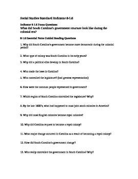 South Carolina History - Partner Read - 8-1.6 - Questions