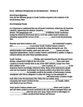 South Carolina History - Partner Read - 8-2.4