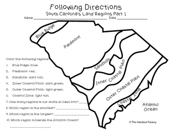 South Carolina's Land Regions- Following Directions Activities