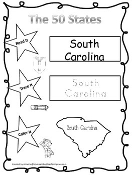South Carolina Read it, Trace it, Color it Learn the State