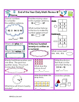South Carolina Standards  End of the Year Daily Math Revie