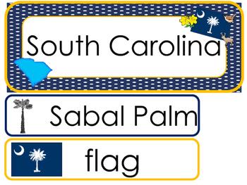 South Carolina State Word Wall Bulletin Board Set. Geograp